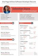 One Page Airlines Software Developer Resume Presentation Report Infographic PPT PDF Document