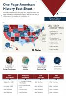 One Page American History Fact Sheet Presentation Report Infographic PPT PDF Document