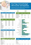 One Page Annual Budget With Income And Expenses Presentation Report Infographic PPT PDF Document