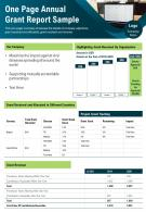One Page Annual Grant Report Sample Presentation Report Infographic PPT PDF Document