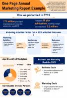 One Page Annual Marketing Report Example Presentation Report Infographic PPT PDF Document