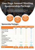 One Page Annual Meeting Sponsorship Package Presentation Report Infographic PPT PDF Document