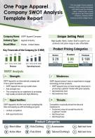 One Page Apparel Company Swot Analysis Template Report Presentation Report Infographic PPT PDF Document