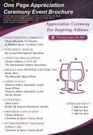 One Page Appreciation Ceremony Event Brochure Presentation Report Infographic PPT PDF Document