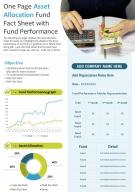 One Page Asset Allocation Fund Fact Sheet With Fund Performance Presentation Infographic PPT PDF Document