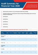 One Page Audit Summary For Financial Year 2020 Presentation Report Infographic PPT PDF Document