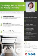 One Page Author Website For Writing Solutions Presentation Report Infographic PPT PDF Document