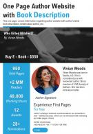 One Page Author Website With Book Description Presentation Report Infographic PPT PDF Document