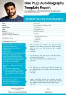 One Page Autobiography Template Report Presentation Report Infographic PPT PDF Document