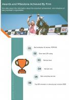 One Page Awards And Milestone Achieved By Firm Template 389 Report Infographic PPT PDF Document