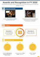One Page Awards And Recognition In FY 2020 Template 327 Presentation Report Infographic PPT PDF Document