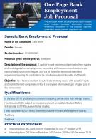 One Page Bank Employment Job Proposal Presentation Report Infographic PPT PDF Document