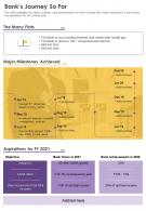 One Page Banks Journey So Far Presentation Report Infographic PPT PDF Document