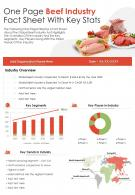 One Page Beef Industry Fact Sheet With Key Stats Presentation Report Infographic PPT PDF Document