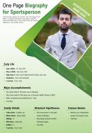 One Page Biography For Sportsperson Presentation Report Infographic PPT PDF Document