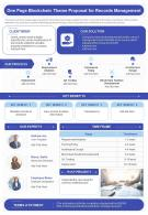 One Page Blockchain Theme Proposal For Records Management Presentation Report Infographic PPT PDF Document