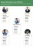 One Page Board Members And Officers Presentation Report Infographic PPT PDF Document