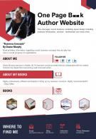 One Page Book Author Website Presentation Report Infographic PPT PDF Document