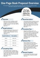 One Page Book Proposal Overview Presentation Report Infographic PPT PDF Document