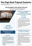 One Page Book Proposal Summary Presentation Report Infographic PPT PDF Document