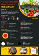 One Page Brand Style Guide Template For Restaurant Presentation Report Infographic PPT PDF Document