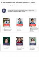 One Page Brief Acknowledgement Of Staff And Community Expertise Report Infographic PPT PDF Document