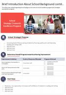 One Page Brief Introduction About School Background Contd Presentation Report Infographic PPT PDF Document