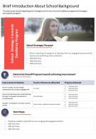 One Page Brief Introduction About School Background Presentation Report Infographic PPT PDF Document