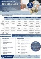 One Page Brochure For Business Loan Presentation Report Infographic PPT PDF Document
