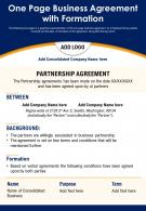 One Page Business Agreement With Formation Presentation Report Infographic PPT PDF Document