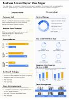 One Page Business Annual Report One Pager Presentation Report Infographic PPT PDF Document