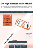 One Page Business Author Website Presentation Report Infographic PPT PDF Document