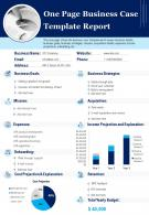 One Page Business Case Template Report Presentation Infographic PPT PDF Document