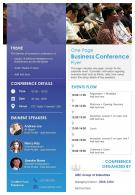 One Page Business Conference Flyer Presentation Report Infographic PPT PDF Document