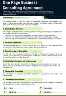 One Page Business Consulting Agreement Presentation Report Infographic PPT PDF Document
