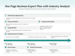 One Page Business Export Plan With Industry Analysis