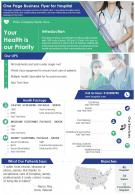 One Page Business Flyer For Hospital Presentation Report Infographic PPT PDF Document