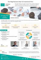 One Page Business Flyer For Investment Firm Presentation Report Infographic PPT PDF Document