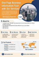 One Page Business Information Flyer With Our Services Presentation Report Infographic PPT PDF Document