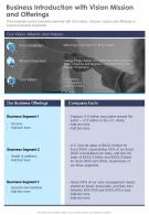 One Page Business Introduction With Vision Mission And Offerings Infographic PPT PDF Document