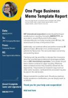 One Page Business Memo Template Report Presentation Report Infographic PPT PDF Document