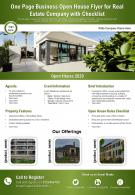 One Page Business Open House Flyer For Real Estate Company With Checklist Report Infographic PPT PDF Document