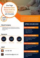 One Page Business Open House Invite For Consultancy With Checklist Presentation Report Infographic PPT PDF Document