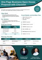 One Page Business Open House Proposal With Checklist Presentation Report Infographic PPT PDF Document