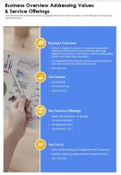 One Page Business Overview Addressing Values And Service Offerings Infographic PPT PDF Document