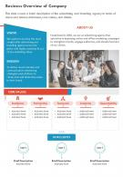 One Page Business Overview Of Company Presentation Report Infographic PPT PDF Document