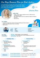 One Page Business Plan For Book Authors Presentation Report Infographic PPT PDF Document