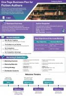 One Page Business Plan For Fiction Authors Presentation Report Infographic PPT PDF Document