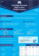 One Page Business Plan For Non Fiction Authors Presentation Report Infographic PPT PDF Document