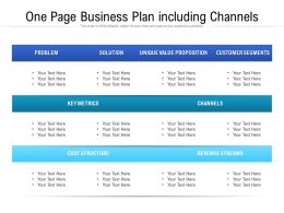 One Page Business Plan Including Channels